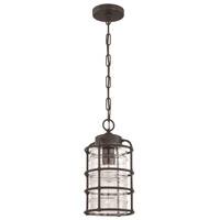 Hadley 1 Light 8 inch Aged Bronze Brushed Outdoor Pendant