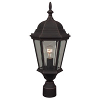 Exteriors by Craftmade Straight Glass 1 Light Post Mount in Rust Z255-07