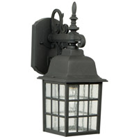 Grid Cage 1 Light 15 inch Textured Matte Black Outdoor Wall Lantern, Medium