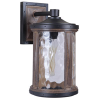 Craftmade Z2714-TBWB Madera 1 Light 15 inch Textured Black and Whiskey Barrel Outdoor Wall Lantern, Medium