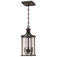 Carlton 3 Light 8 inch Aged Bronze Brushed Outdoor Pendant, Small