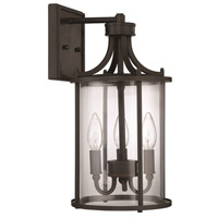 Carlton 3 Light 16 inch Aged Bronze Brushed Outdoor Wall Mount, Exteriors