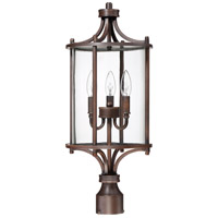 Craftmade Z2825-ABZ Carlton 3 Light 24 inch Aged Bronze Brushed Outdoor Post Light, Medium