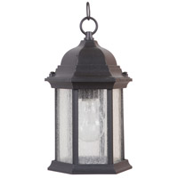 Hex Style 1 Light 7 inch Textured Matte Black Outdoor Pendant, Small