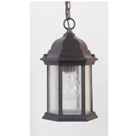 Craftmade Z291-TB-CS Hex Style 1 Light 7 inch Brushed Aluminum Outdoor Pendant in Textured Matte Black, Clear Seeded, Small