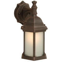 Hex Style 1 Light 12 inch Rust Outdoor Wall Mount in Frosted