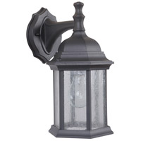 Craftmade Z294-TB-CS Hex Style 1 Light 12 inch Textured Matte Black Outdoor Wall Lantern in Clear Seeded, Small