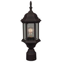 Craftmade Z295-RT Hex Style 1 Light 18 inch Rust Outdoor Post Light in Clear Beveled Medium