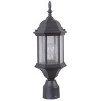 Craftmade Z295-TB-CS Hex Style 1 Light 18 inch Textured Matte Black Outdoor Post Mount in Clear Seeded Medium