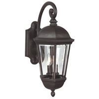 Britannia 3 Light 22 inch Oiled Bronze Outdoor Wall Mount in Clear Beveled