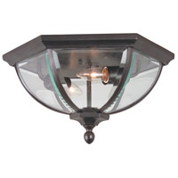 Britannia 2 Light 15 inch Oiled Bronze Outdoor Flushmount in Clear Beveled