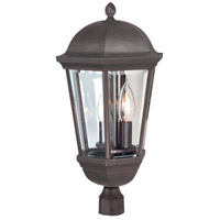 Britannia 3 Light 20 inch Oiled Bronze Outdoor Post Mount in Clear Beveled