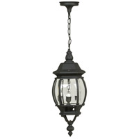 French Style 3 Light 8 inch Matte Black Outdoor Pendant