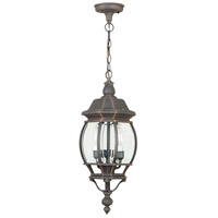 French Style 3 Light 8 inch Rust Outdoor Pendant, Medium