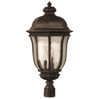 Harper 3 Light 26 inch Peruvian Bronze Outdoor Post Mount in Clear Seeded