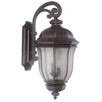 Harper 3 Light 32 inch Peruvian Bronze Outdoor Wall Mount in Clear Seeded