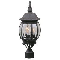 French Style 3 Light 22 inch Textured Matte Black Outdoor Post Light, Medium