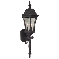 Craftmade Z340-TB Curved Glass 3 Light 25 inch Textured Matte Black Outdoor Wall Lantern, Small