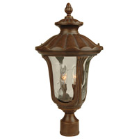 Sheffield 2 Light 20 inch Aged Bronze Post Mount in Clear Hammered