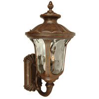 Sheffield 3 Light 28 inch Aged Bronze Outdoor Wall Mount in Clear Hammered
