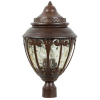 Olivier 3 Light 21 inch Aged Bronze Outdoor Post Mount in Champagne Hammered