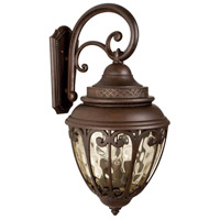 Olivier 4 Light 29 inch Aged Bronze Outdoor Wall Mount in Champagne Hammered