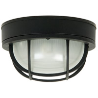 Bulkhead 1 Light 10 inch Textured Matte Black Outdoor Flushmount, Large