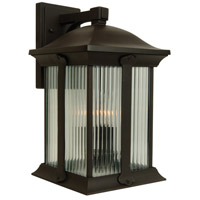 Summit 3 Light 20 inch Oiled Bronze Outdoor Wall Mount in Clear Halophane Glass