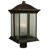 Summit 3 Light 21 inch Oiled Bronze Post Mount in Clear Halophane Glass