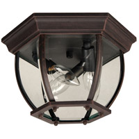 Bent Glass 3 Light 11 inch Rust Outdoor Flushmount