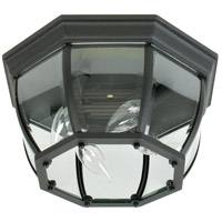 Bent Glass 4 Light 13 inch Matte Black Outdoor Flushmount