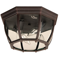 Bent Glass 4 Light 13 inch Rust Outdoor Flushmount