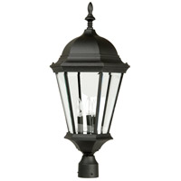 Straight Glass 3 Light 28 inch Textured Matte Black Outdoor Post Light, Large
