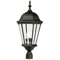 Craftmade Z555-TB Straight Glass 3 Light 28 inch Textured Matte Black Outdoor Post Light, Large