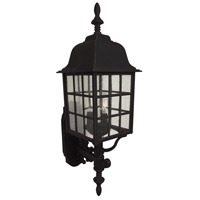 Grid Cage 3 Light 28 inch Matte Black Outdoor Wall Mount in Clear Seeded