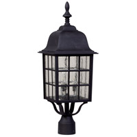 Grid Cage 3 Light 24 inch Matte Black Post Mount in Clear Seeded