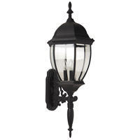 Bent Glass 3 Light 36 inch Matte Black Outdoor Wall Mount in Clear Beveled