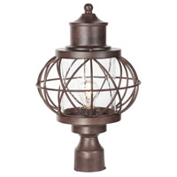 Revere 1 Light 18 inch Aged Bronze Post Mount in Clear Seeded