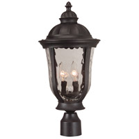 Frances 3 Light 24 inch Oiled Bronze Outdoor Post Mount in Clear Hammered