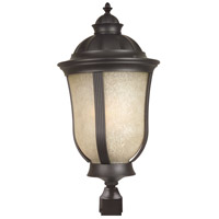 Frances II ES 1 Light 20 inch Oiled Bronze Outdoor Post Mount in Tea-Stained Scavo Glass