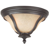 Frances II 2 Light 14 inch Oiled Bronze Outdoor Flushmount, Medium