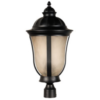 Frances II 3 Light 24 inch Oiled Bronze Outdoor Post Mount in Tea-Stained Scavo Glass