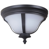Frances III 2 Light 14 inch Oiled Bronze Outdoor Flush Mount in White Opal