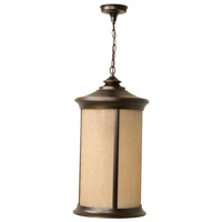 Arden 1 Light 12 inch Oiled Bronze Gilded Outdoor Pendant in Tea-Stained Glass