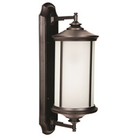 Arden II 1 Light 28 inch Oiled Bronze Gilded Outdoor Wall Mount in White Frosted Glass