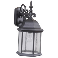 Craftmade Z694-TB-CS Hex Style 1 Light 18 inch Textured Matte Black Outdoor Wall Lantern in Clear Seeded, Large