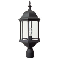 Craftmade Z695-TB Hex Style 1 Light 22 inch Textured Matte Black Outdoor Post Light in Clear Beveled Large