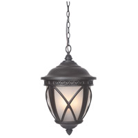 Artesia 3 Light 13 inch Oiled Bronze Outdoor Pendant in White Frosted Glass