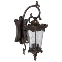 Kingston 3 Light 23 inch Peruvian Bronze Outdoor Wall Mount in Clear Seeded