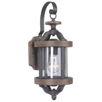 Ashwood 1 Light 17 inch Textured Black and Whiskey Barrel Outdoor Wall Mount in Clear Glass